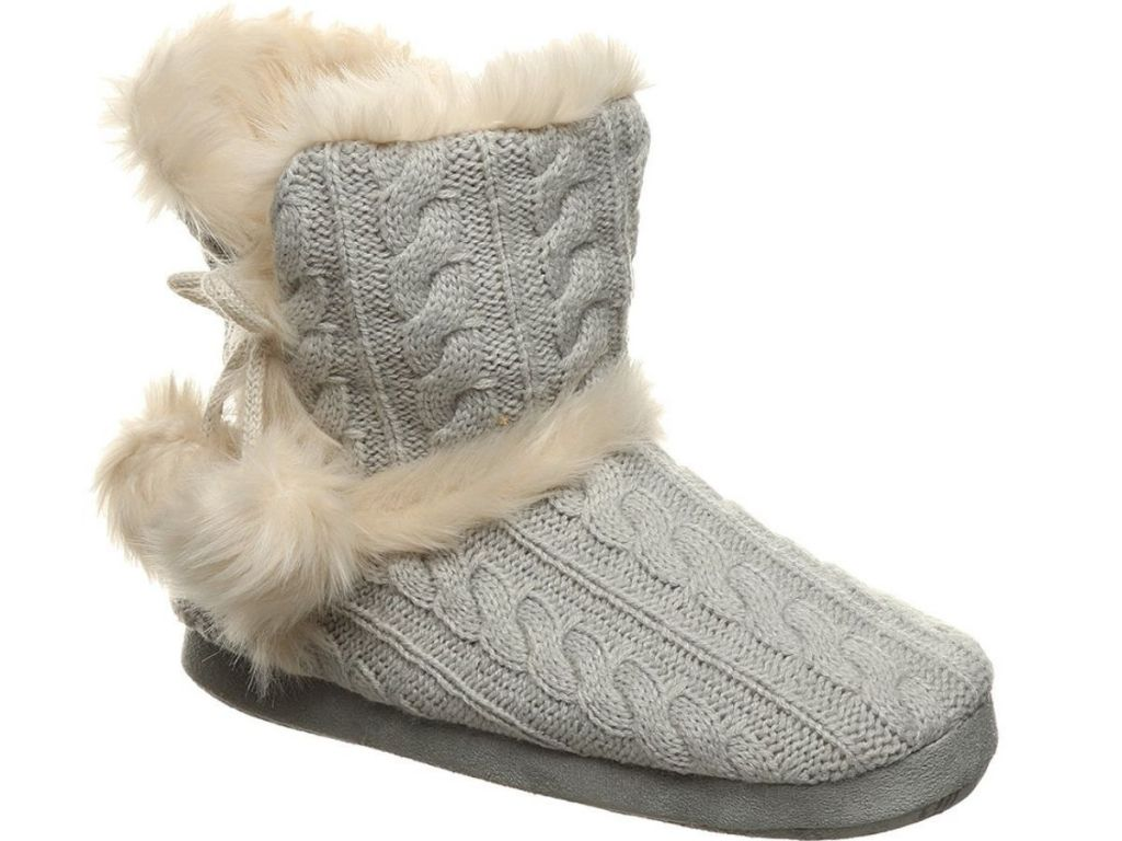 gray slippers with fur