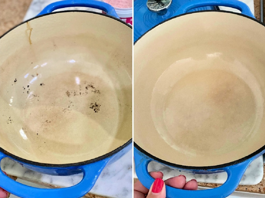 before an after cleaning enamel cast iron with Pink stuff