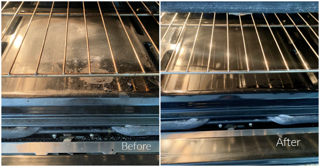 before and after cleaning oven