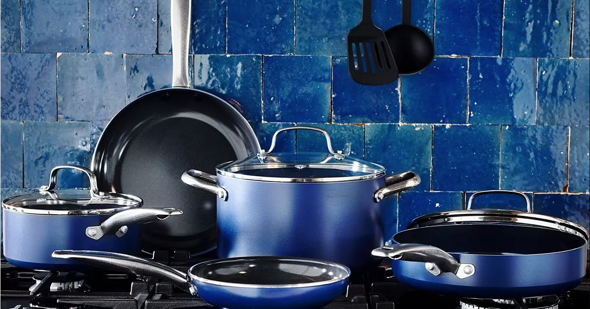 blue colored cookware set on stove