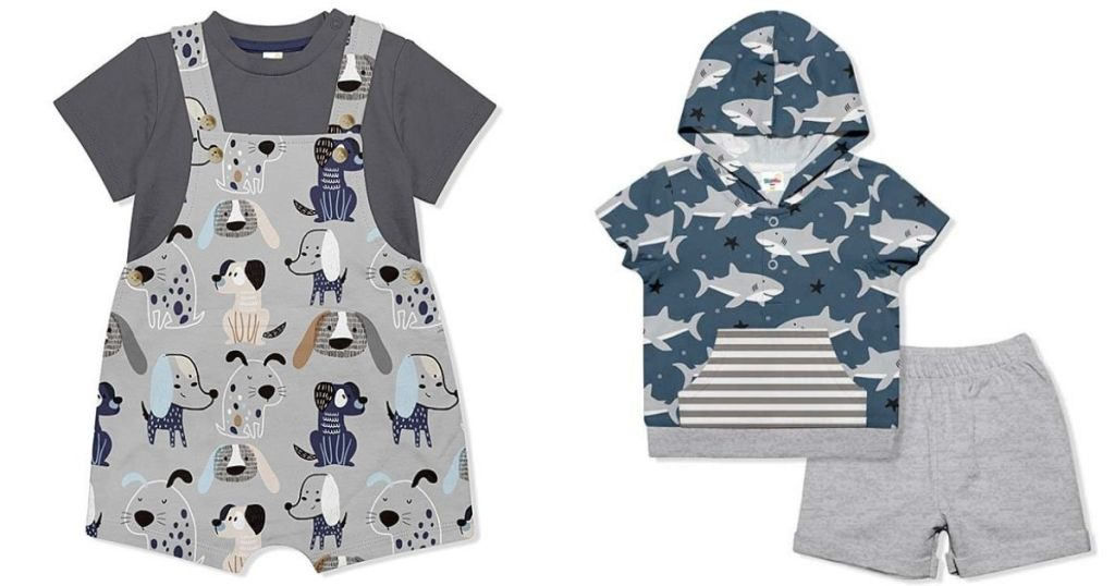 infant and toddler romper and shark outfit
