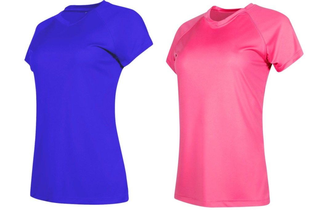 blue and pink champion dry fit shirt