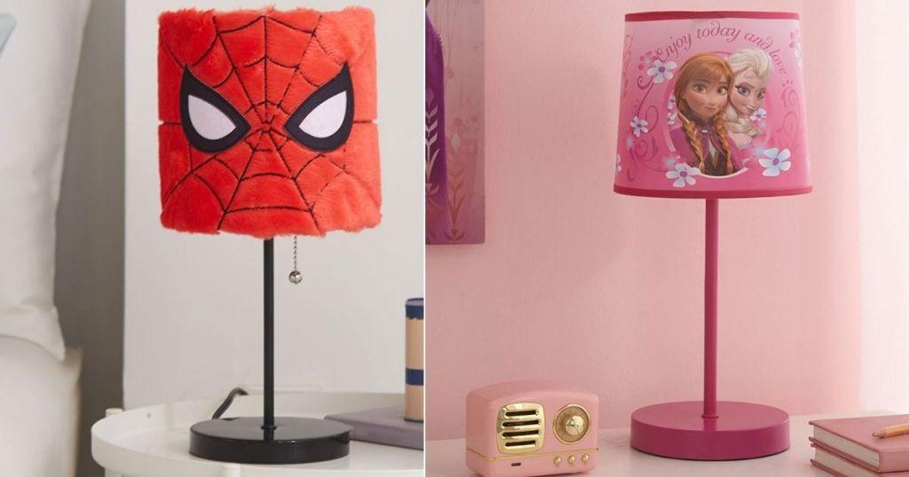 plush spiderman lamp and frozen lamp