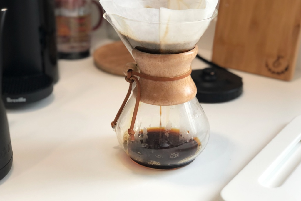 chemex with filter on counter