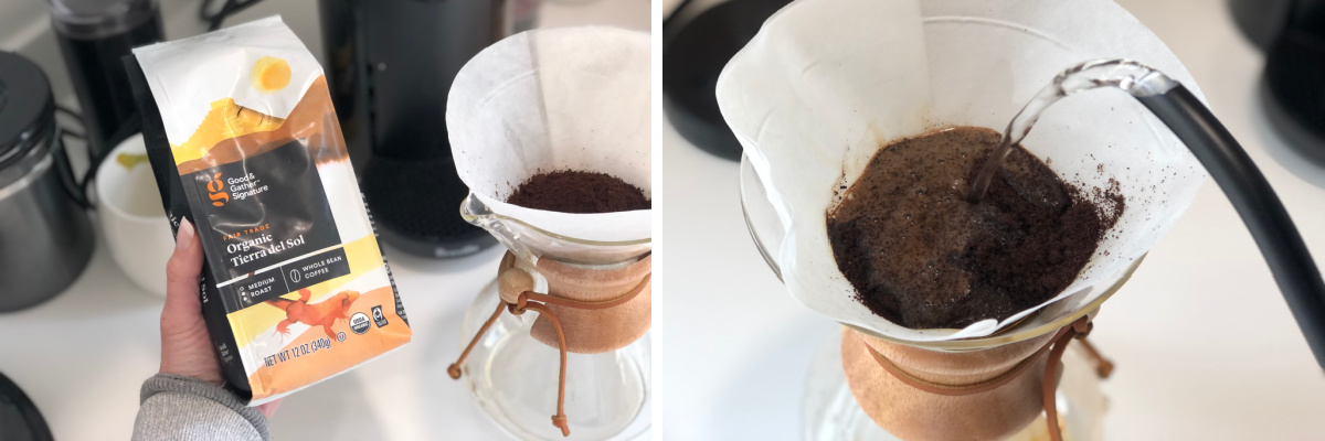 bag of coffee and chemex pour over coffee maker