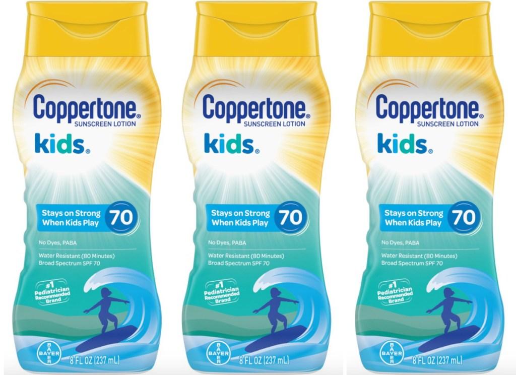3 bottles of kids coppertone sunscreen