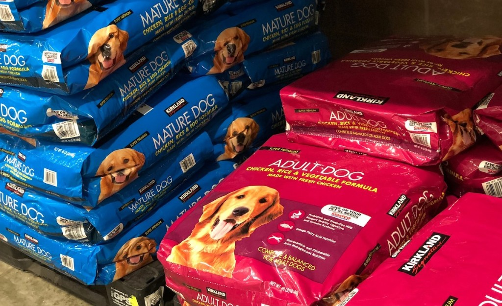 stacks of dog food in store - what to buy costco