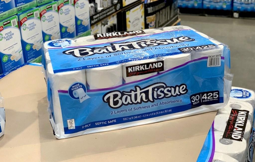 package of kirklands toilet paper on table in store