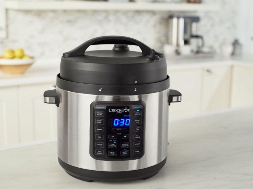 Crock pot pressure cooker on counter