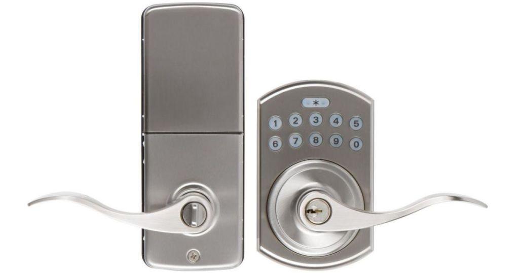 sliver door lock and keypad