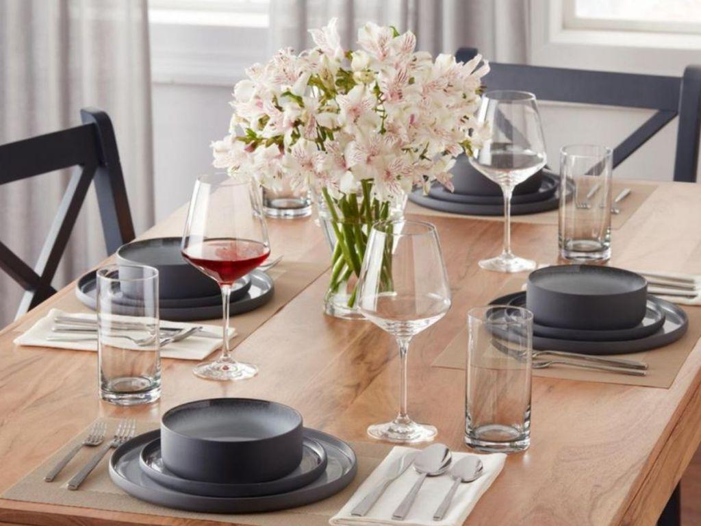 black and gray stone dinnerware