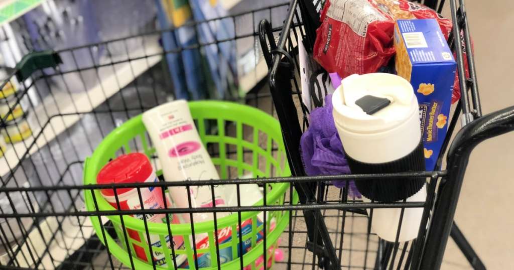 dollar tree shopping cart with gift basket items