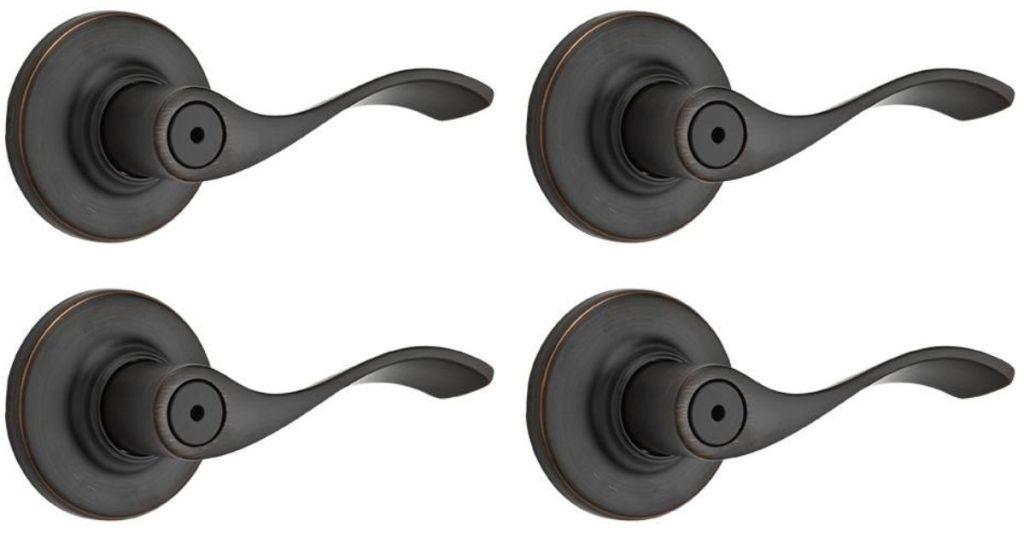 4 bronze door levers