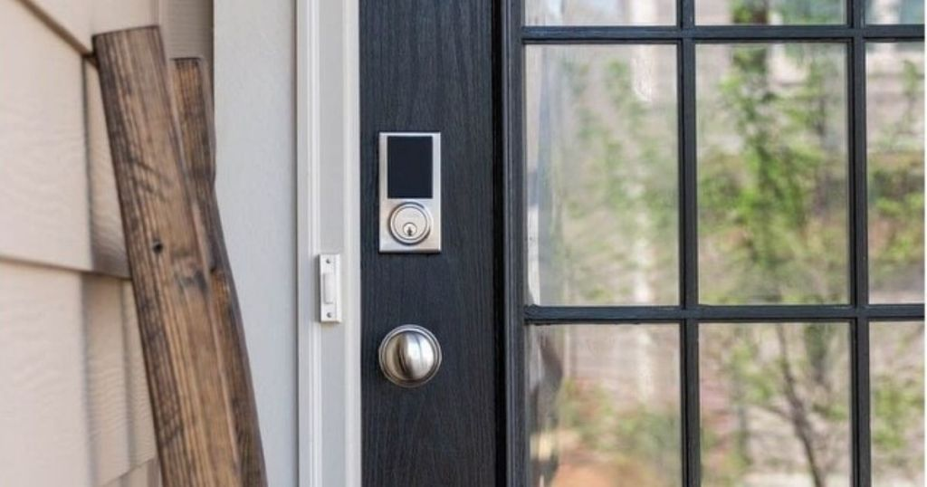 digital smart lock on blue door