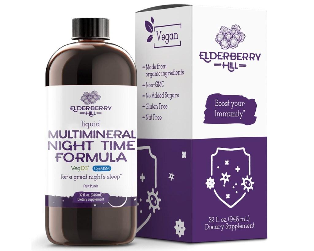 elderberry nighttime formula bottle and box