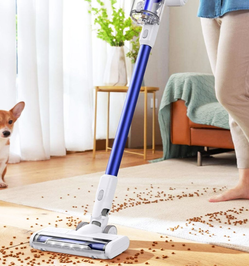 woman using cordless vacuum to clean up spilled dog food
