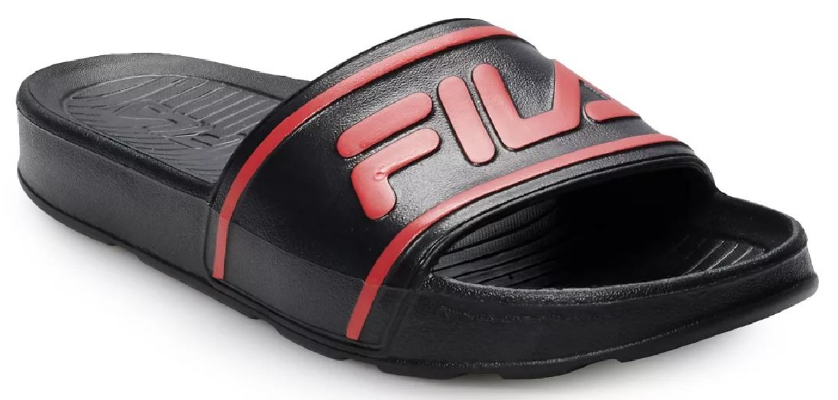 one black sandal with red logo on it