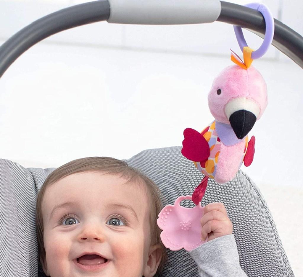 flamingo stroller toy w/ baby