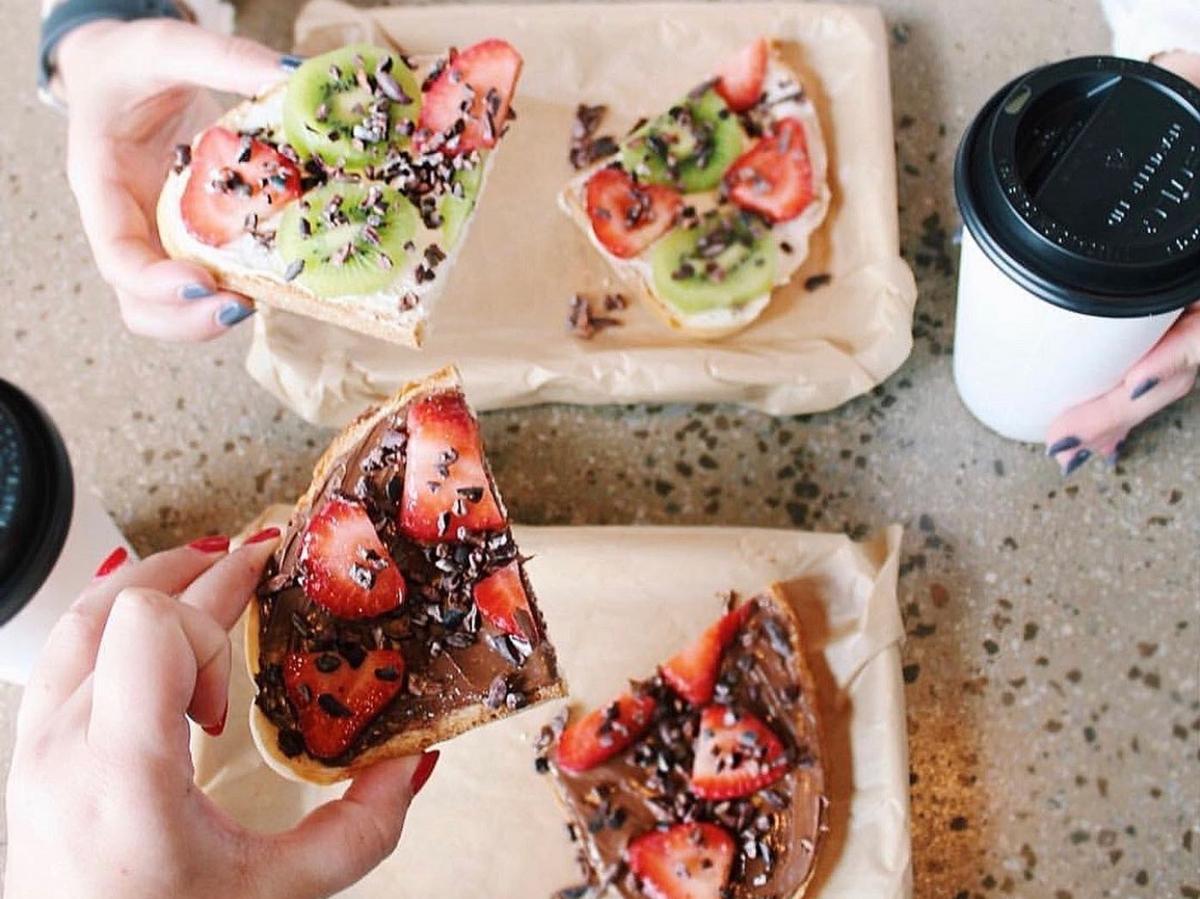 tax day freebie - holding fruit toast