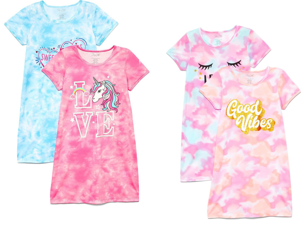 four girls night gowns on white background
