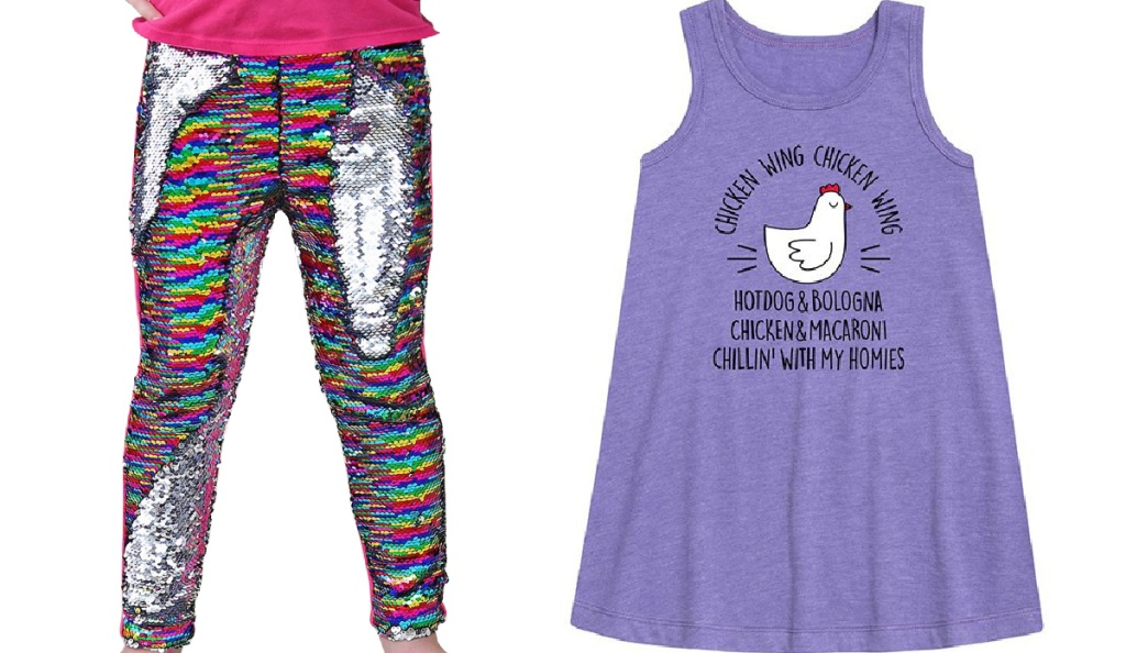 girls sequin leggings and chicken wing tee