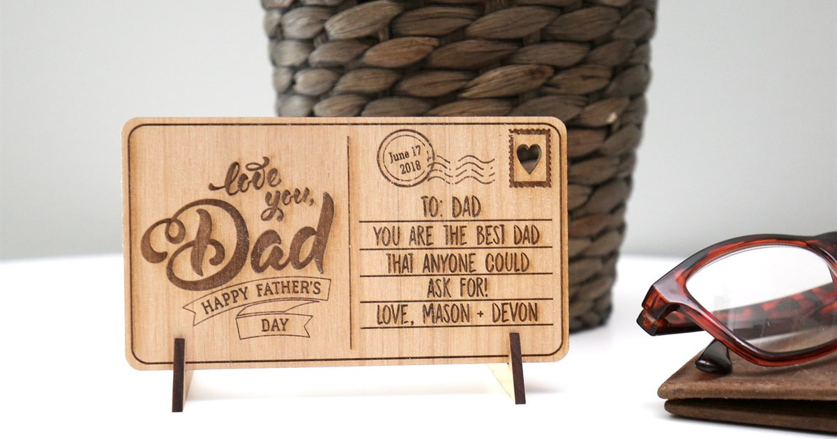 love you dad wooden postcard on display