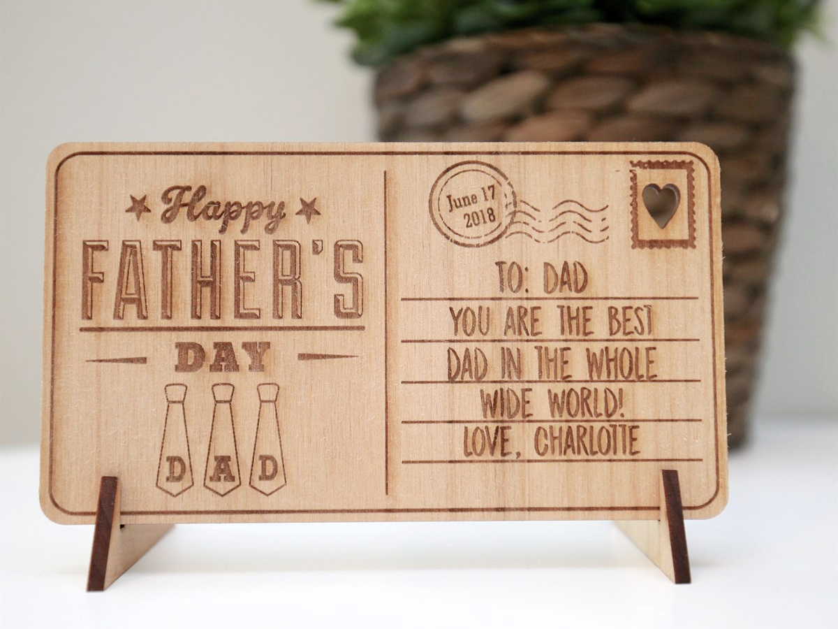 wooden fathers day postcard on display
