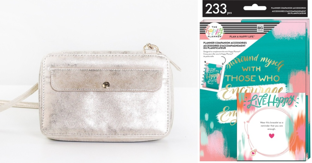 silvery pouch and Live Happy accessories
