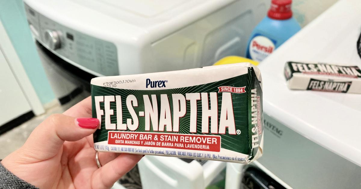 holding a bar of fels naptha