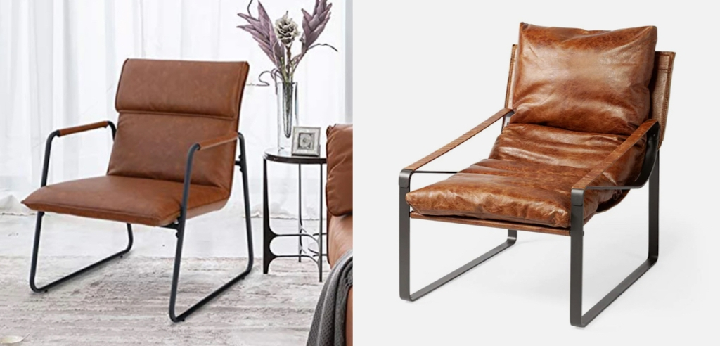 side by side stock photos of brown leather accent chair
