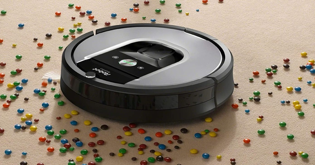 smart robot vacuum cleaning up candy
