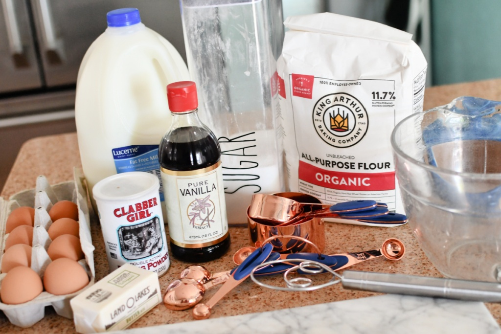 ingredients to make homemade pancakes from scratch