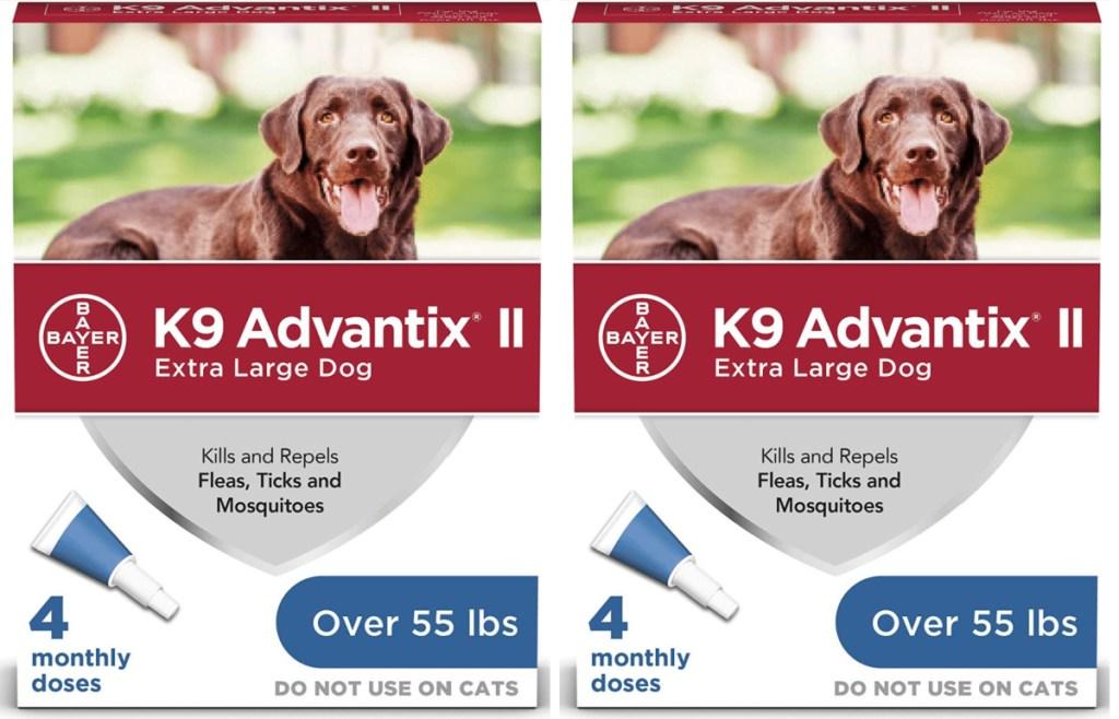 2 boxes of k9 advantix flea and tick medicine