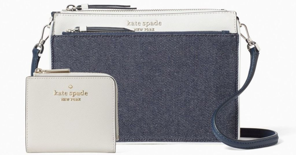 kate spade denim and white crossbody and white wallet