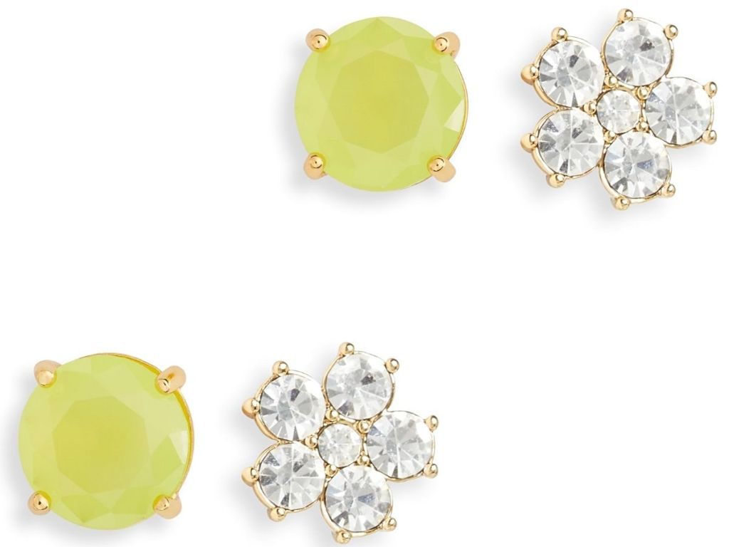 green earrings and diamond flower earrings