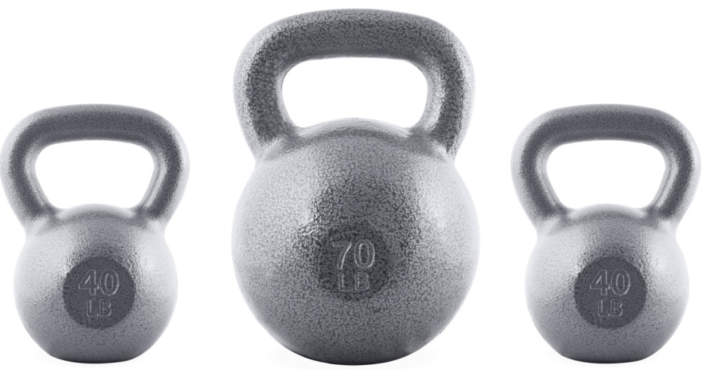 40, 70 and 40lb kettlebells