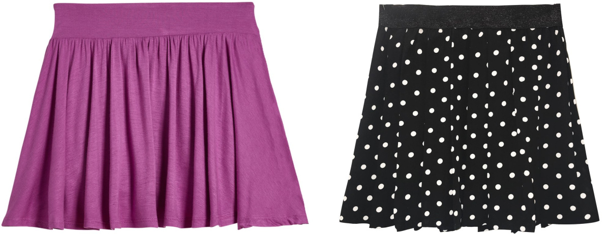 purple and black and white dot skirts