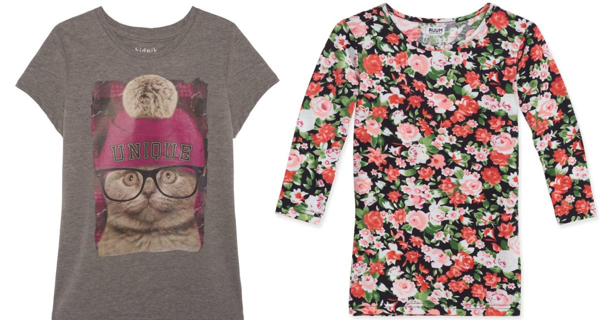 cat tee and flowery shirt