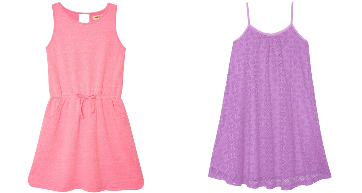 coral and purple dresses