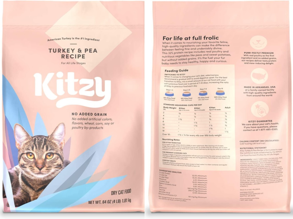 kitzy cat food front and back
