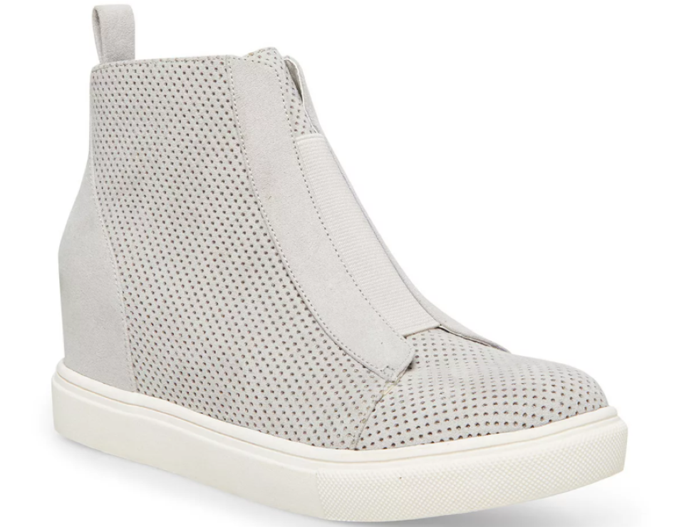 grey and white sneaker boot
