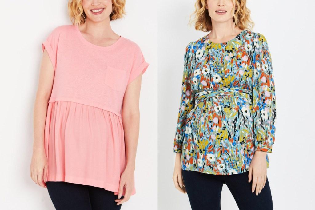 2 maternity fashion tops