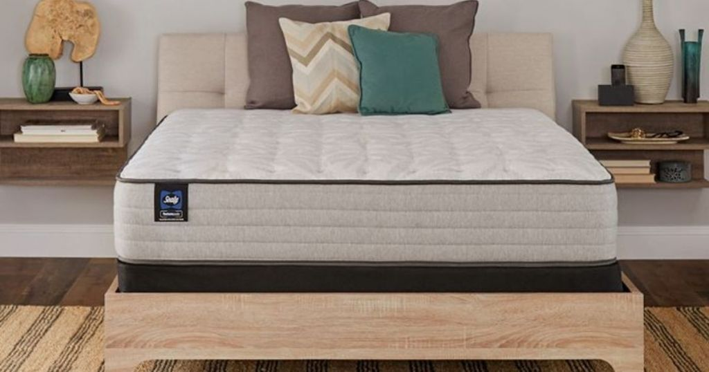 Sealy mattress on wood platform bed