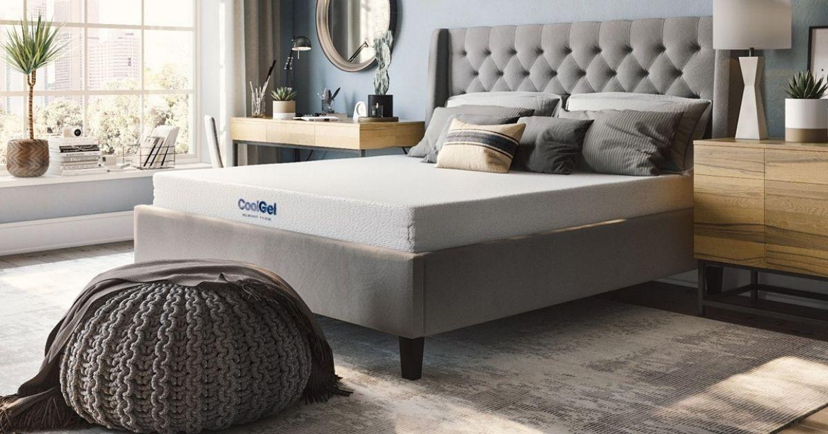 CoolGel mattress on gray platform