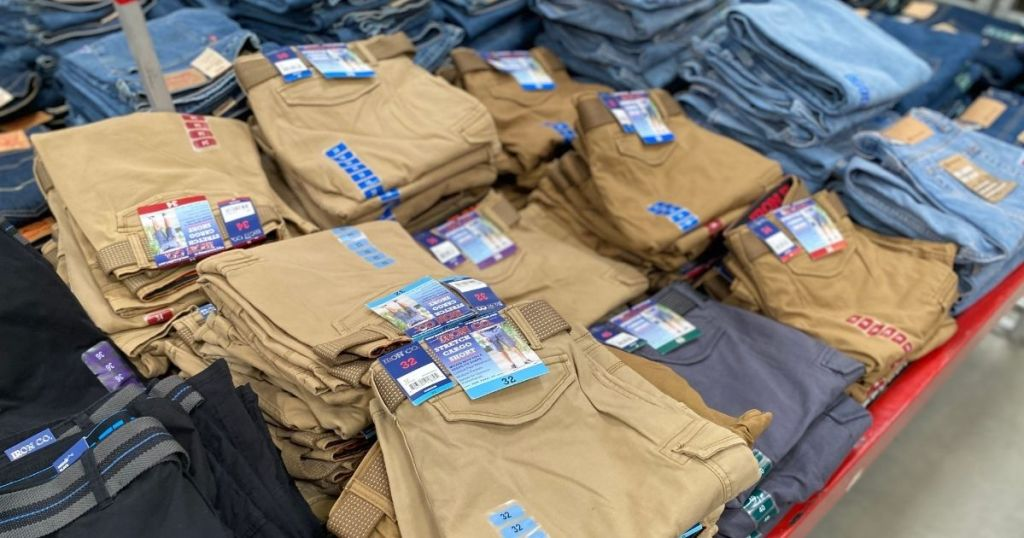 mens cargo shorts on display in store