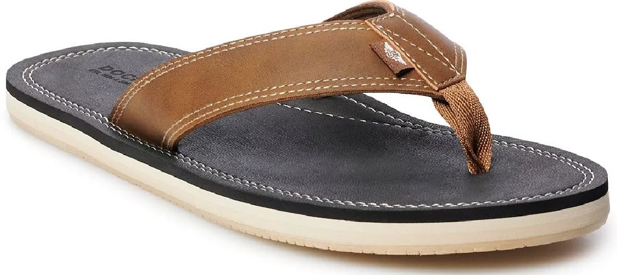 man's brown leather sandal on white background