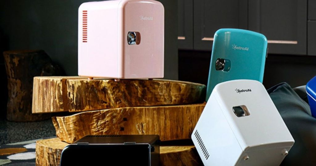 pink, teal and white mini fridges