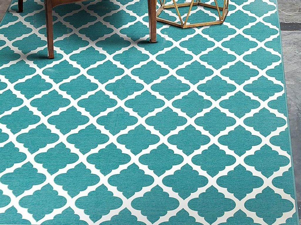 teal and white trellis rug