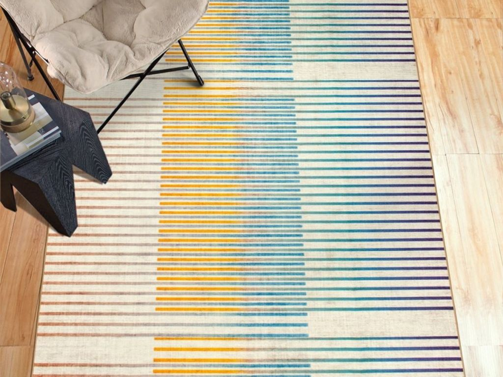 yellow blue green and tan striped rug
