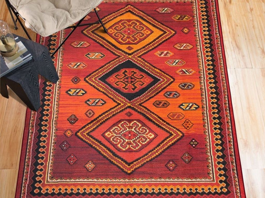 geometric orange and red rug